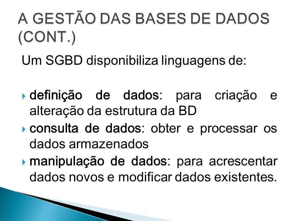 A GESTÃO DAS BASES DE DADOS (CONT.)