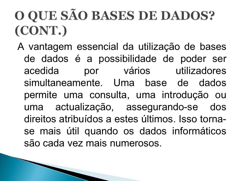 O QUE SÃO BASES DE DADOS (CONT.)