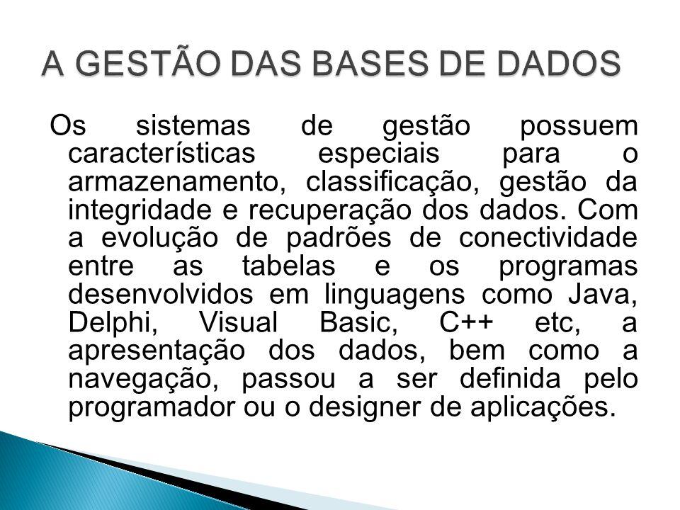 A GESTÃO DAS BASES DE DADOS