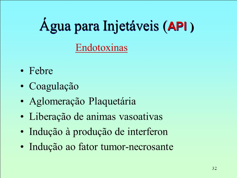 Água para Injetáveis (API )