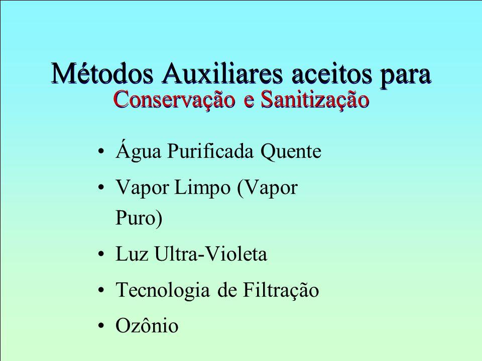 Métodos Auxiliares aceitos para Conservação e Sanitização