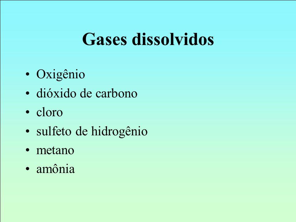 Gases dissolvidos Oxigênio dióxido de carbono cloro