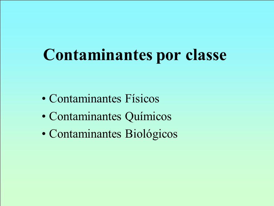 Contaminantes por classe