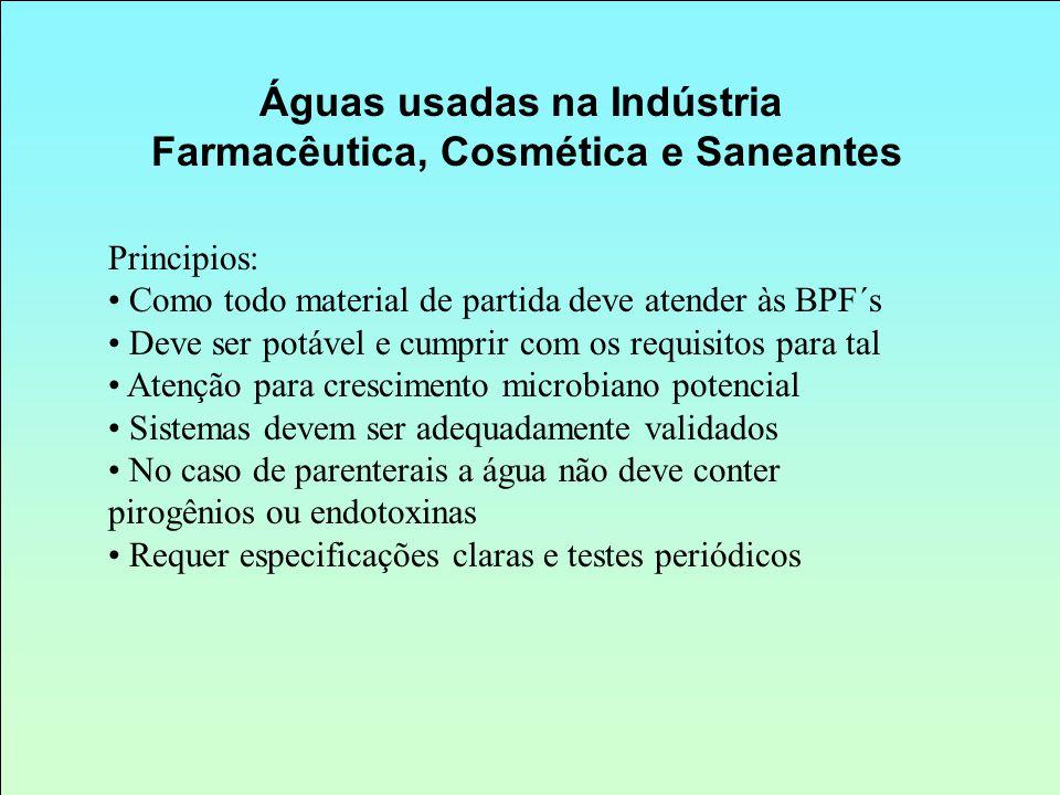 Águas usadas na Indústria Farmacêutica, Cosmética e Saneantes