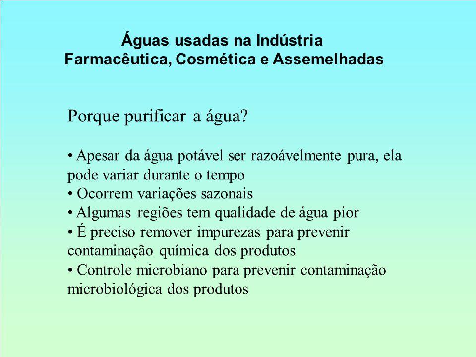 Águas usadas na Indústria Farmacêutica, Cosmética e Assemelhadas
