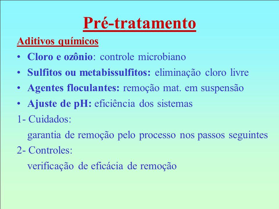 Pré-tratamento Aditivos químicos Cloro e ozônio: controle microbiano