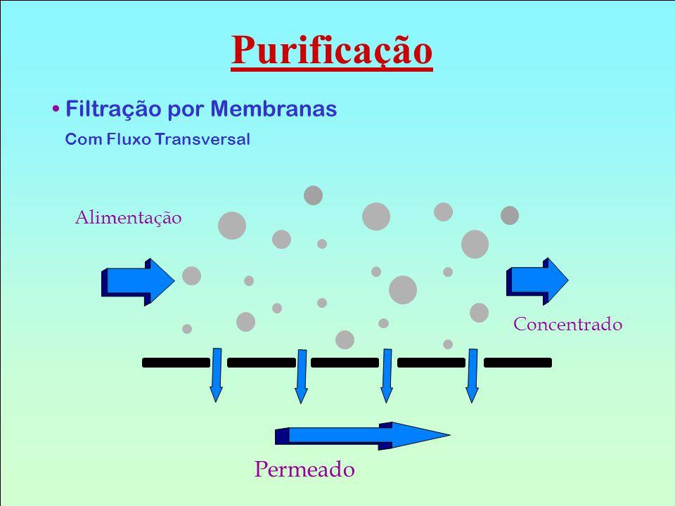Purificação Filtração por Membranas Permeado Alimentação Concentrado