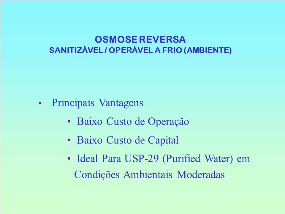 OSMOSE REVERSA SANITIZÁVEL / OPERÁVEL A FRIO (AMBIENTE)