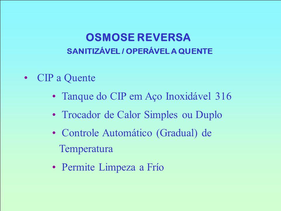 OSMOSE REVERSA SANITIZÁVEL / OPERÁVEL A QUENTE