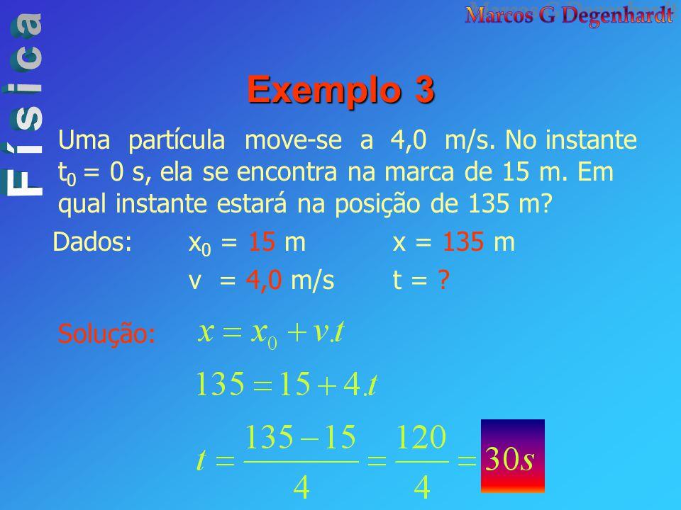 Exemplo 3 Uma partícula move-se a 4,0 m/s. No instante t0 = 0 s, ela se encontra na marca de 15 m. Em qual instante estará na posição de 135 m
