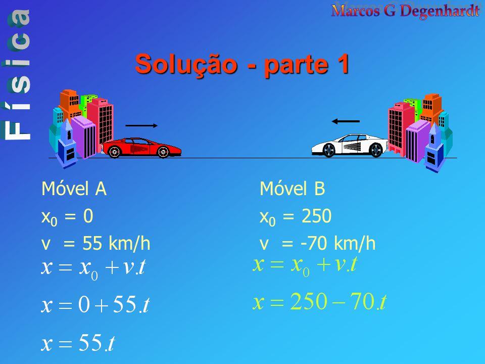 Solução - parte 1 Móvel A x0 = 0 v = 55 km/h Móvel B x0 = 250