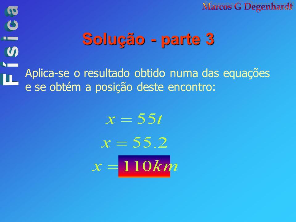 Solução - parte 3 Aplica-se o resultado obtido numa das equações e se obtém a posição deste encontro: