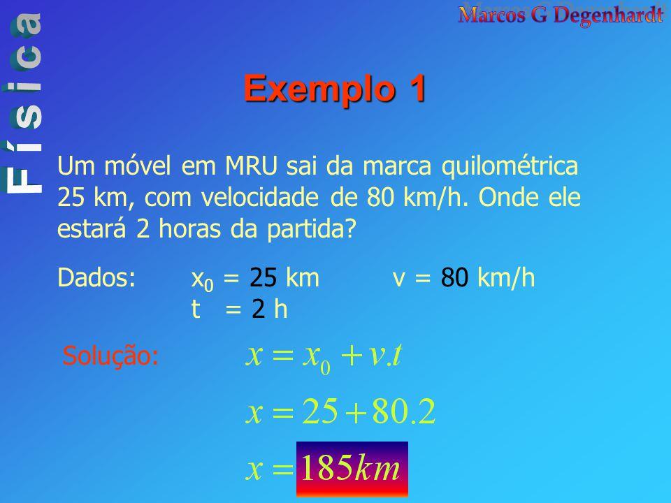 Exemplo 1 Um móvel em MRU sai da marca quilométrica 25 km, com velocidade de 80 km/h. Onde ele estará 2 horas da partida