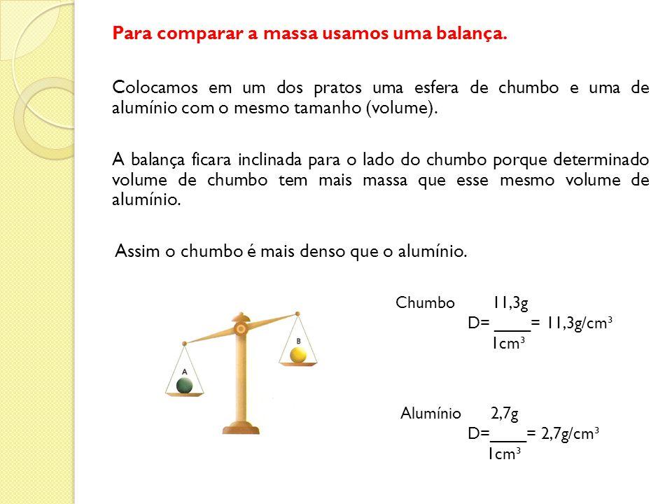 Para comparar a massa usamos uma balança.