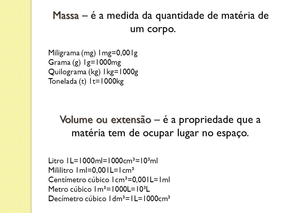 Massa – é a medida da quantidade de matéria de um corpo.