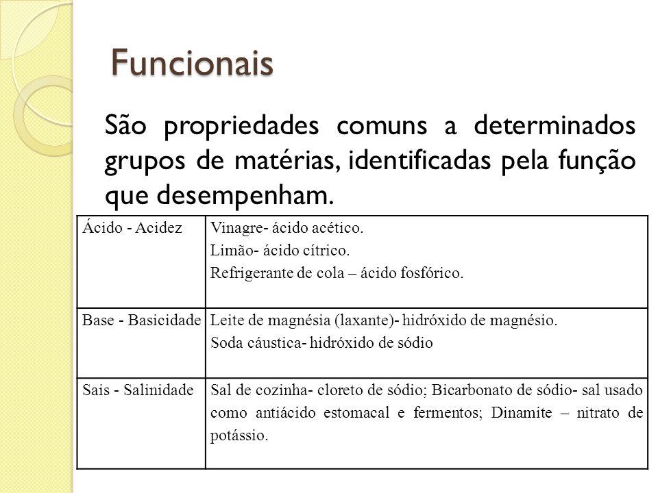 Funcionais São propriedades comuns a determinados grupos de matérias, identificadas pela função que desempenham.