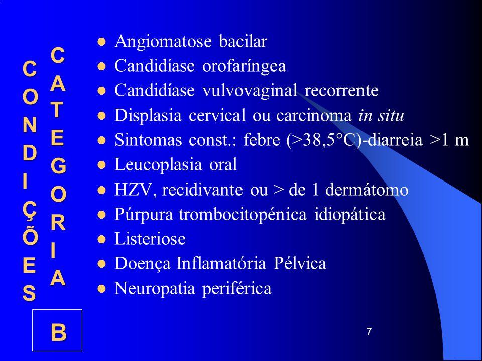 CATEGORIA B CONDIÇÕES Angiomatose bacilar Candidíase orofaríngea