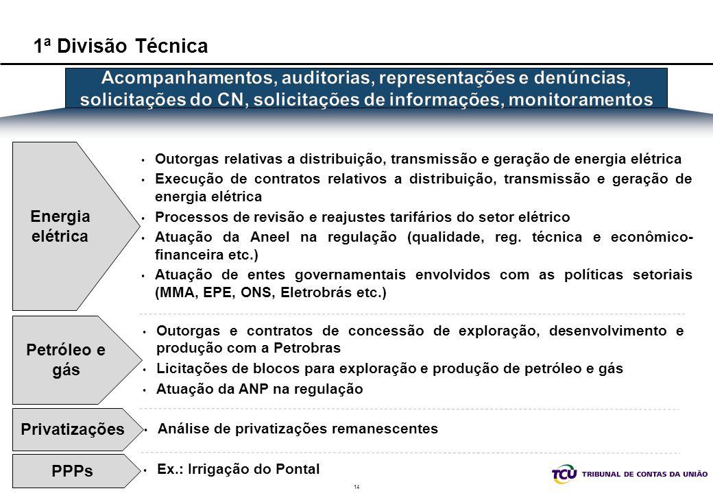 1ª Divisão Técnica Acompanhamentos, auditorias, representações e denúncias, solicitações do CN, solicitações de informações, monitoramentos.