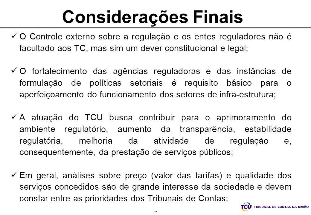 Considerações Finais O Controle externo sobre a regulação e os entes reguladores não é facultado aos TC, mas sim um dever constitucional e legal;
