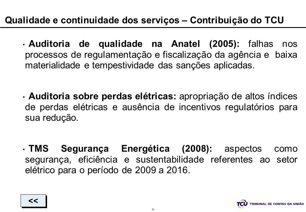 Qualidade e continuidade dos serviços – Contribuição do TCU