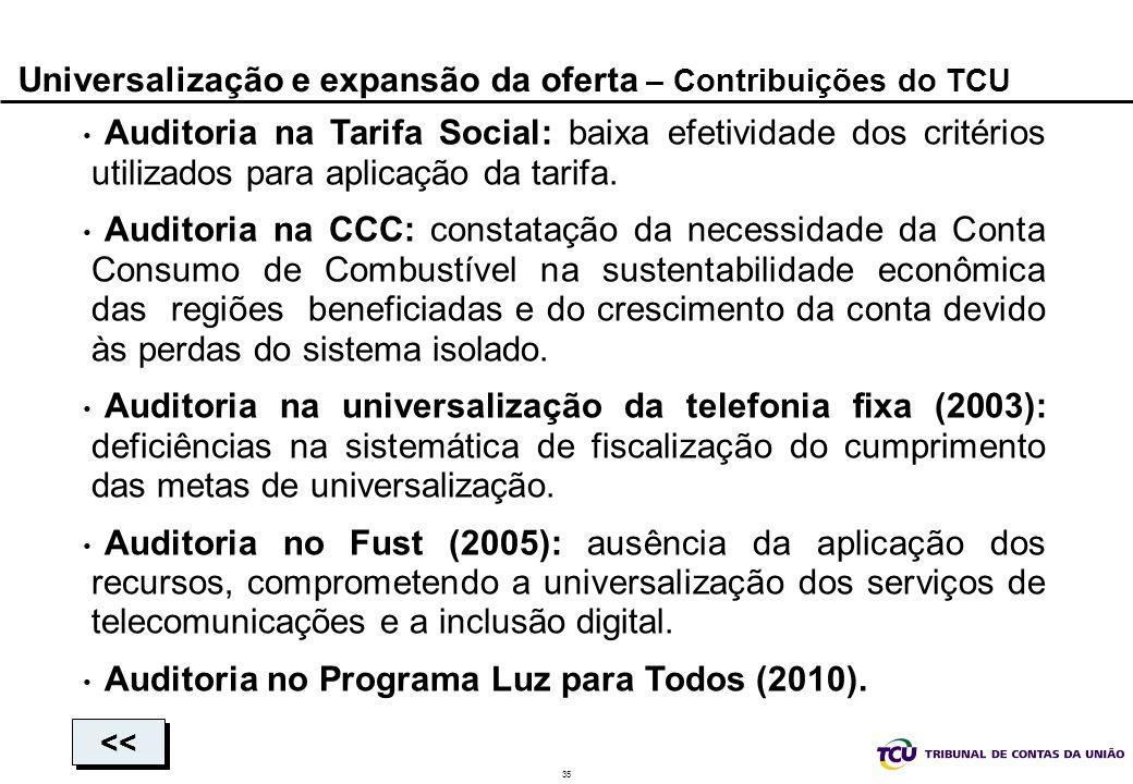 Universalização e expansão da oferta – Contribuições do TCU