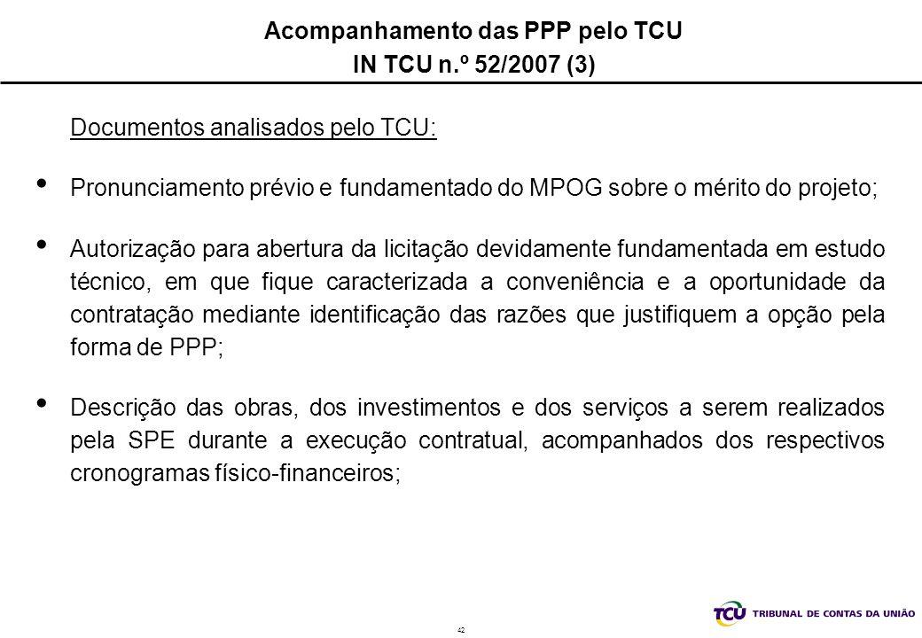 Acompanhamento das PPP pelo TCU IN TCU n.º 52/2007 (3)