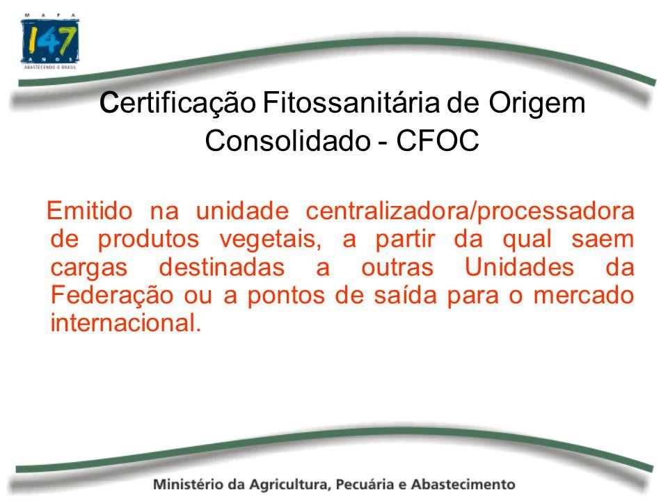 certificação Fitossanitária de Origem Consolidado - CFOC
