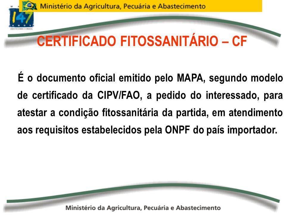 CERTIFICADO FITOSSANITÁRIO – CF