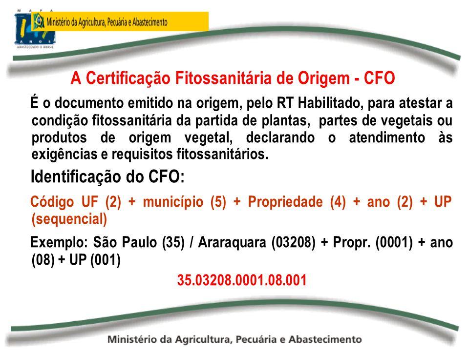 A Certificação Fitossanitária de Origem - CFO