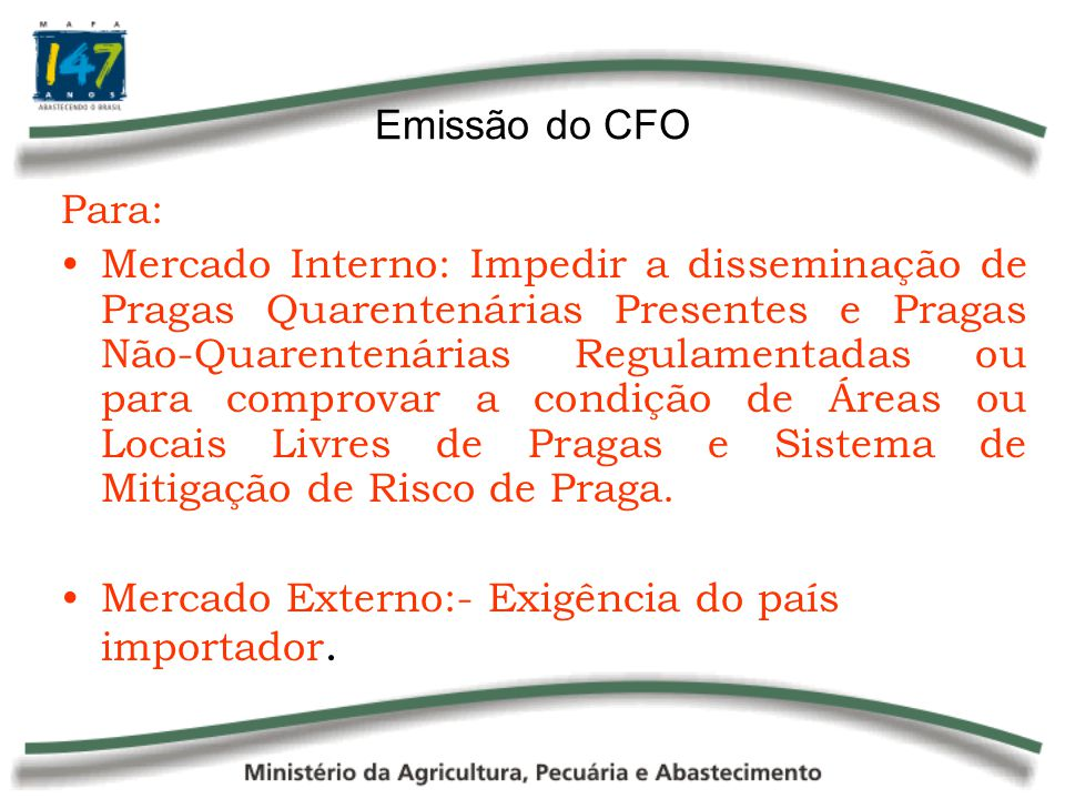 Emissão do CFO Para: