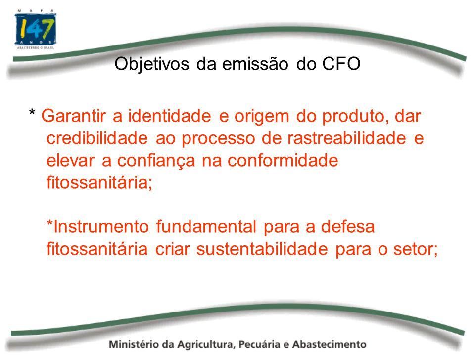 Objetivos da emissão do CFO