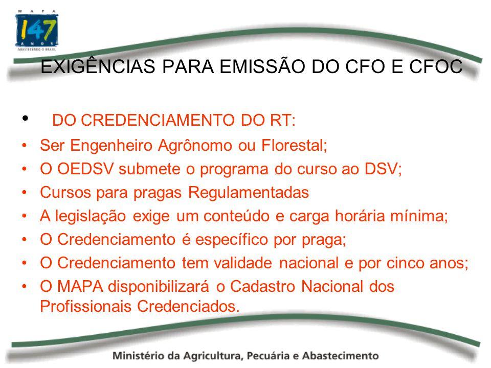 EXIGÊNCIAS PARA EMISSÃO DO CFO E CFOC