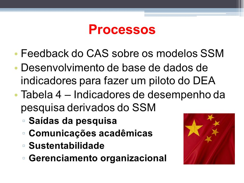 Processos Feedback do CAS sobre os modelos SSM