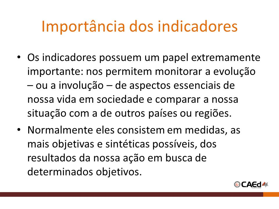 Importância dos indicadores