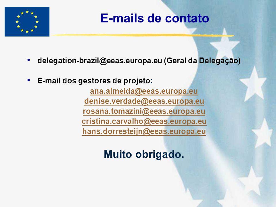 E-mails de contato Muito obrigado.
