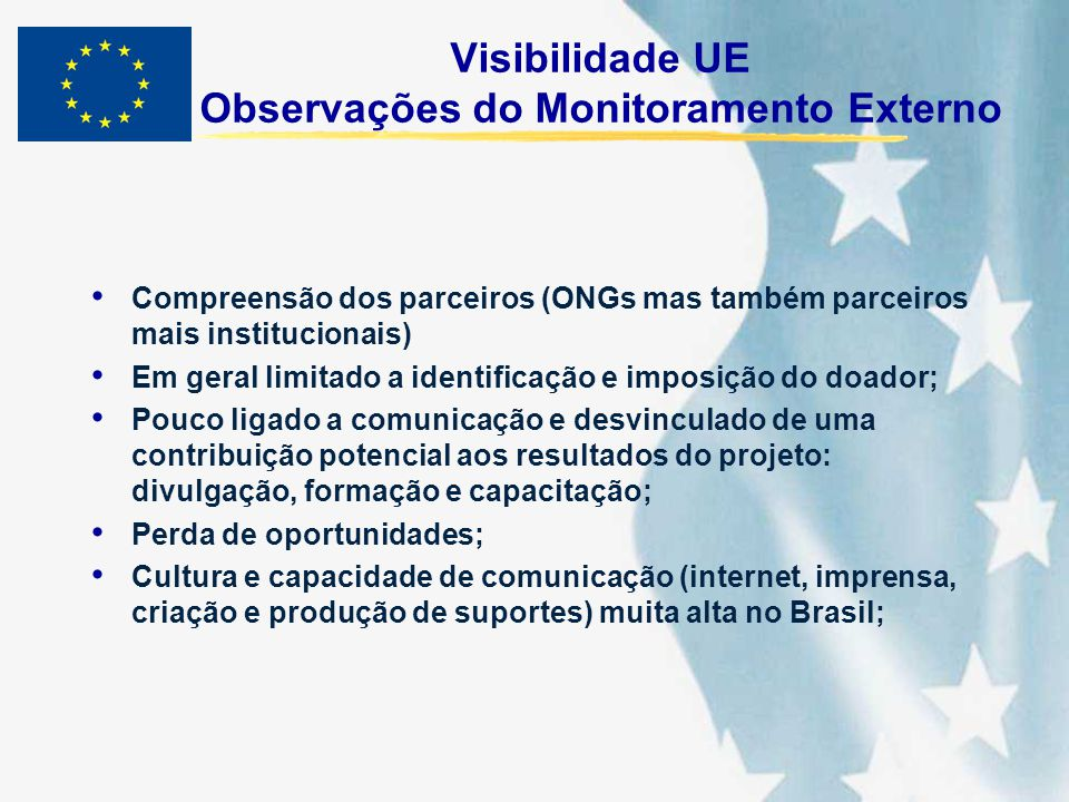 Visibilidade UE Observações do Monitoramento Externo