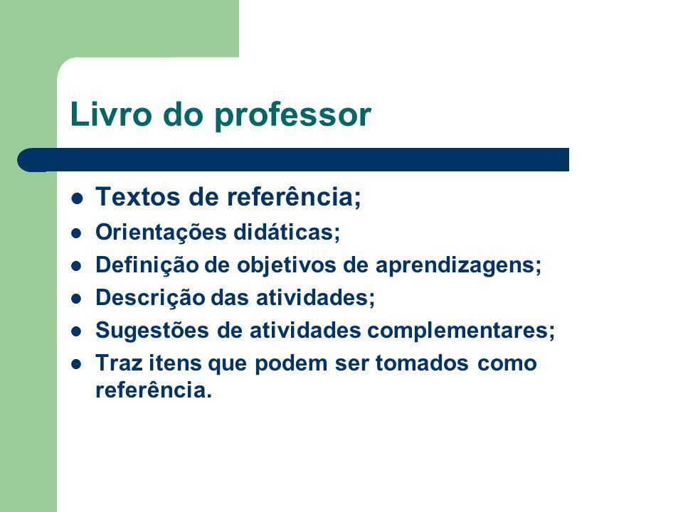 Livro do professor Textos de referência; Orientações didáticas;