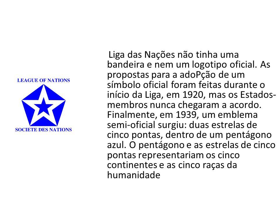 Liga das Nações não tinha uma bandeira e nem um logotipo oficial