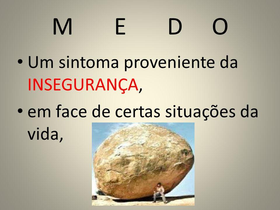 M E D O Um sintoma proveniente da INSEGURANÇA,