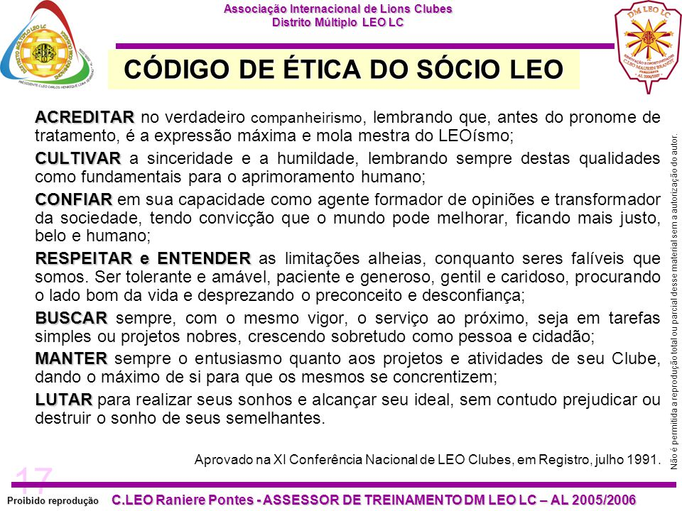CÓDIGO DE ÉTICA DO SÓCIO LEO