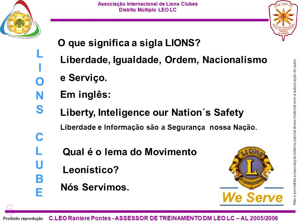 LIONS CLUBE O que significa a sigla LIONS