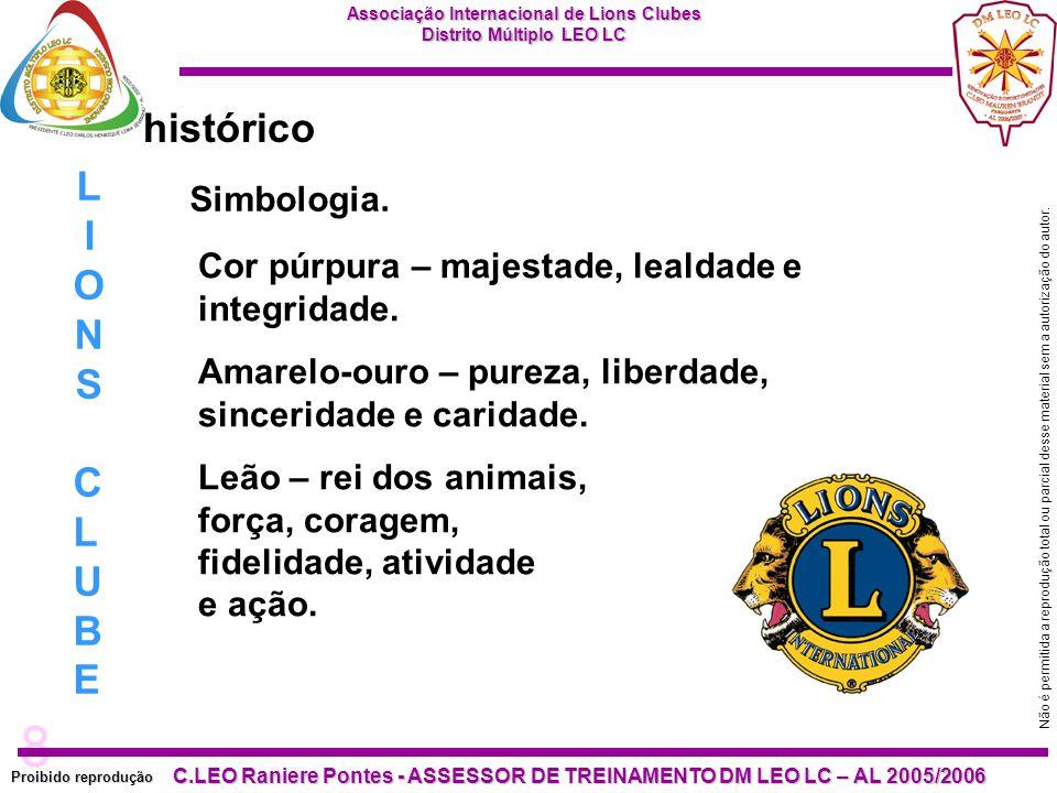 histórico LIONS CLUBE Simbologia.