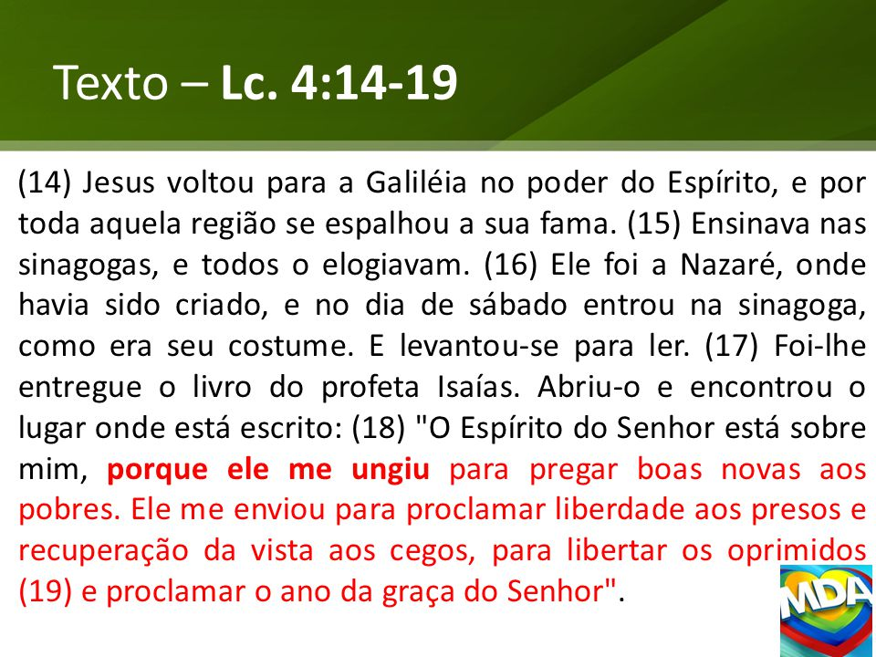Texto – Lc. 4:14-19