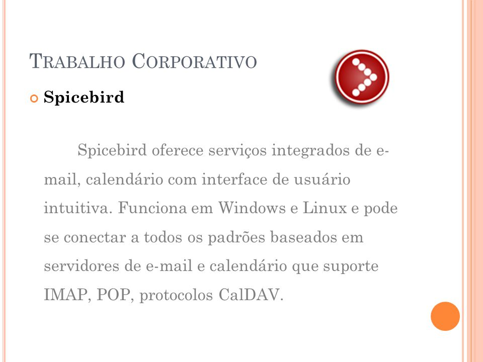 Trabalho Corporativo Spicebird
