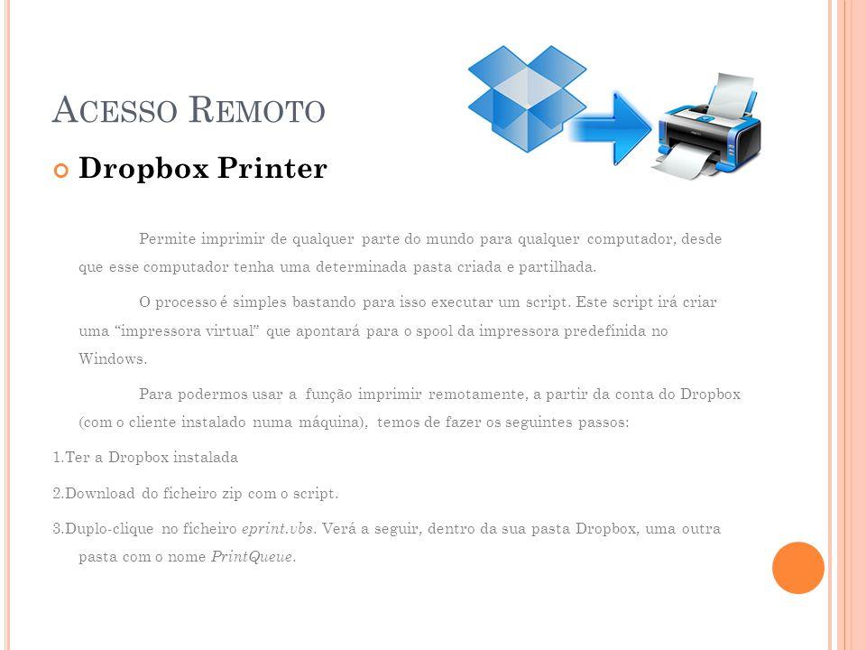 Acesso Remoto Dropbox Printer