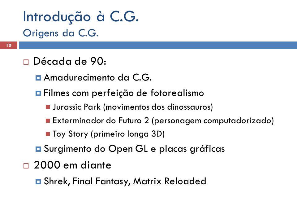 Introdução à C.G. Década de 90: 2000 em diante Origens da C.G.