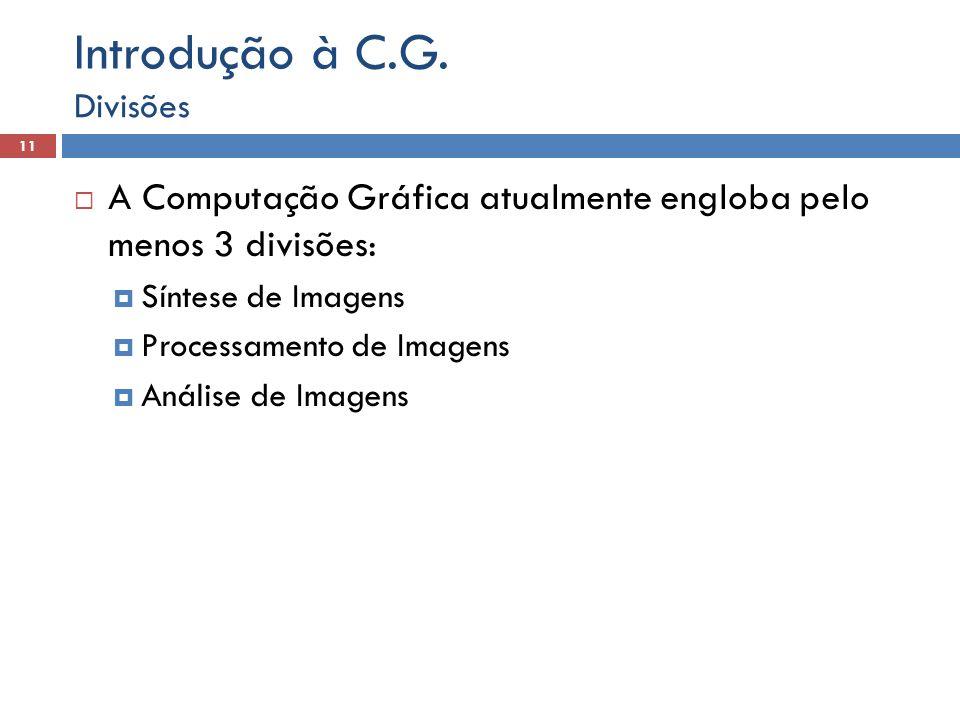 Introdução à C.G. Divisões. A Computação Gráfica atualmente engloba pelo menos 3 divisões: Síntese de Imagens.