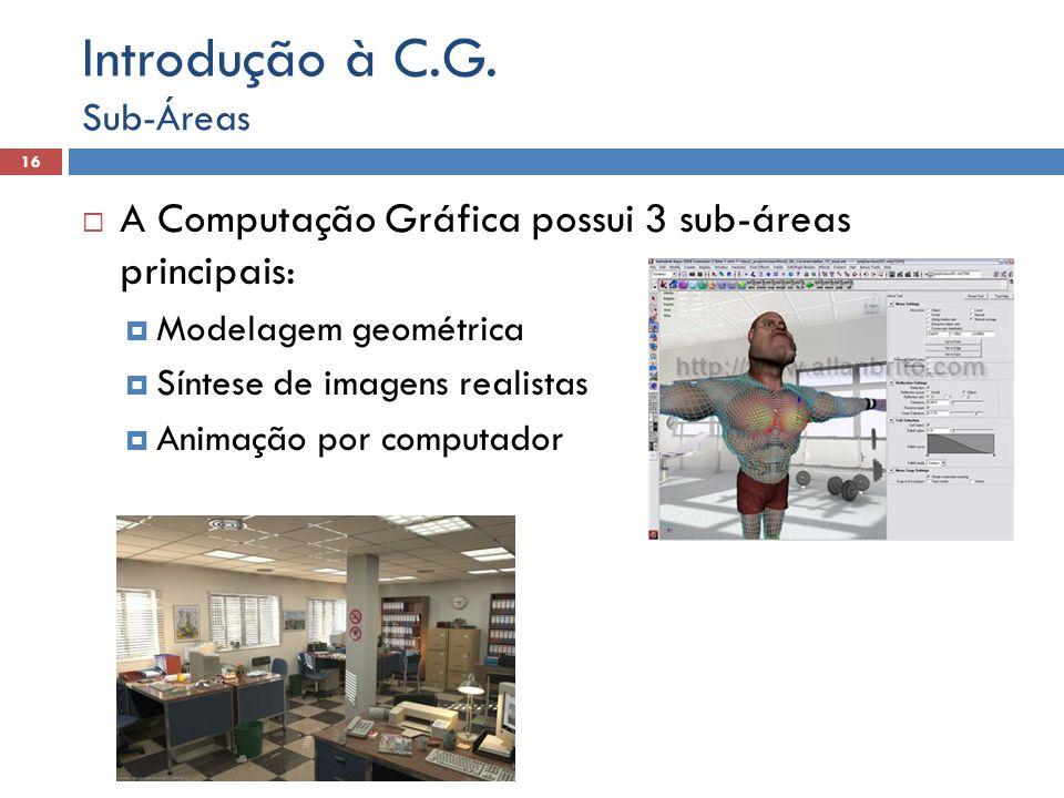 Introdução à C.G. A Computação Gráfica possui 3 sub-áreas principais: