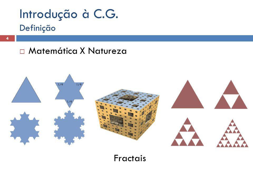 Introdução à C.G. Definição Matemática X Natureza Fractais