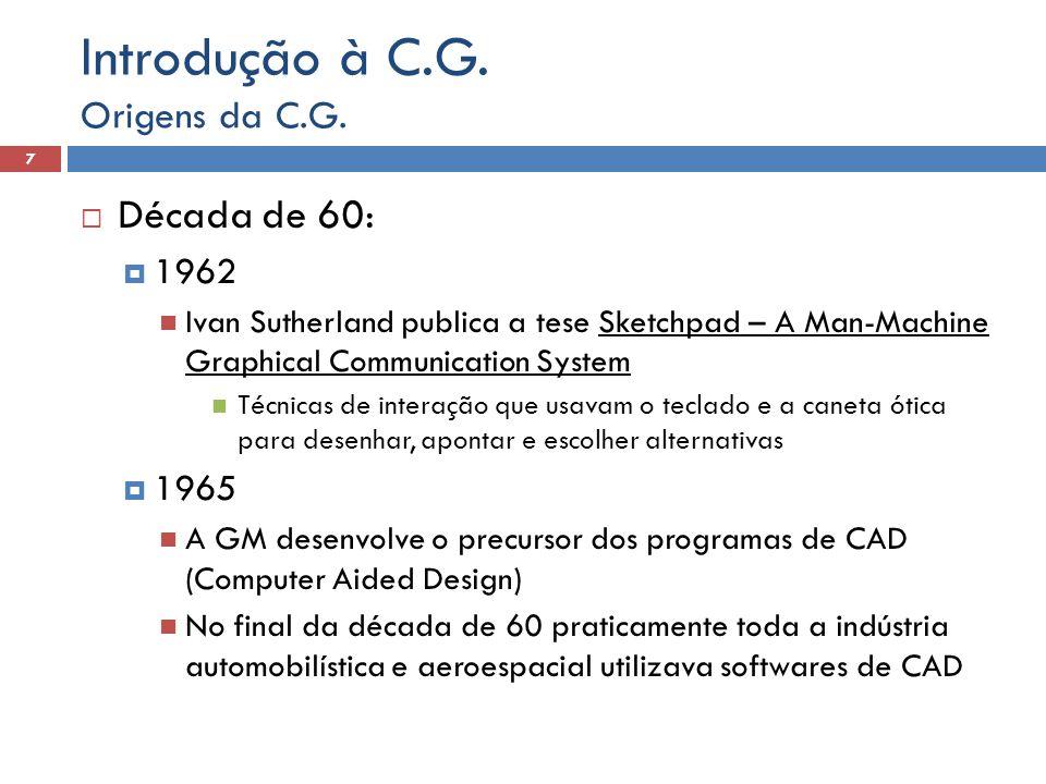 Introdução à C.G. Década de 60: Origens da C.G. 1962 1965